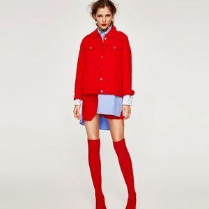 ZARA oversized destressed denim jacket red jean